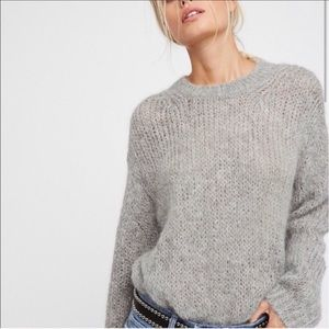 Free people Fuzzy Crew neck Lavender Knit Sweater